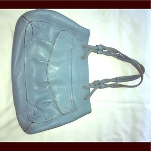 Cole Haan light blue leather tote